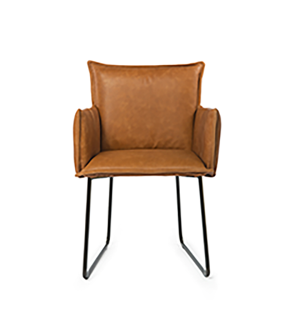 Duke Dining Chair With Arm Bonaza Tan Front (2)