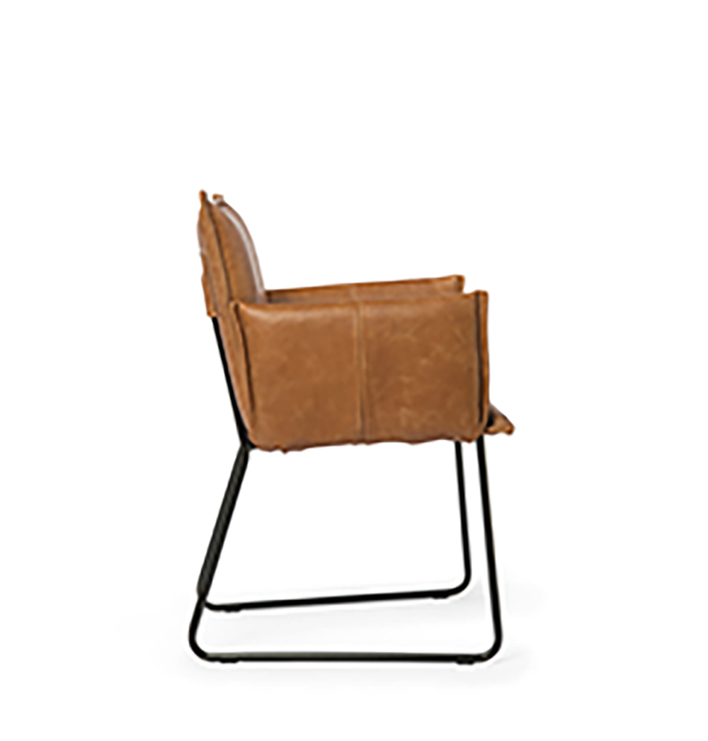 Duke Dining Chair With Arm Bonaza Tan Side