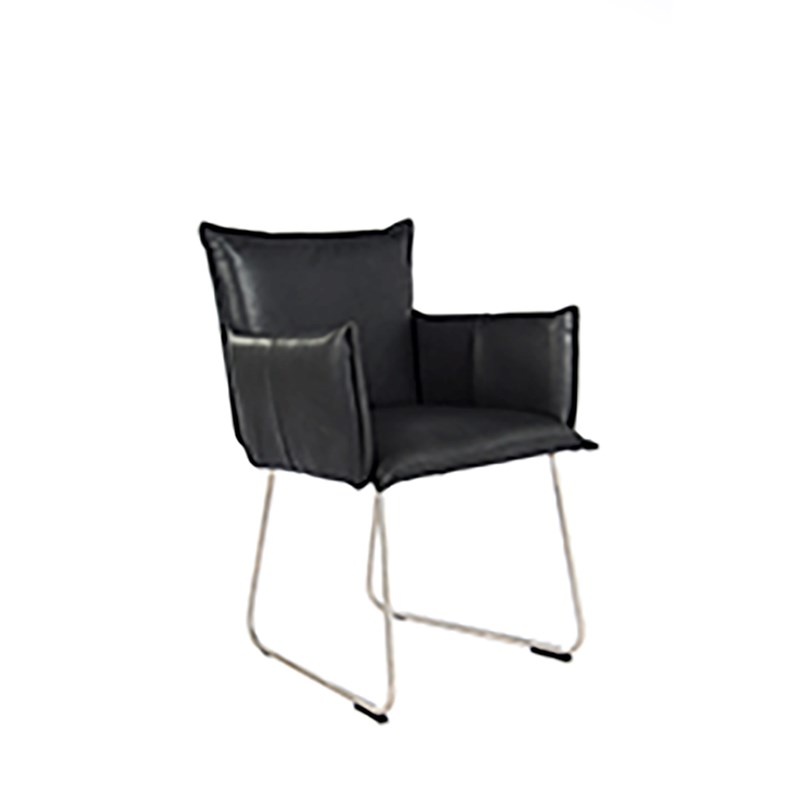 Duke Dining Chair With Arm Stainless Steel Bonanza Black Oblique