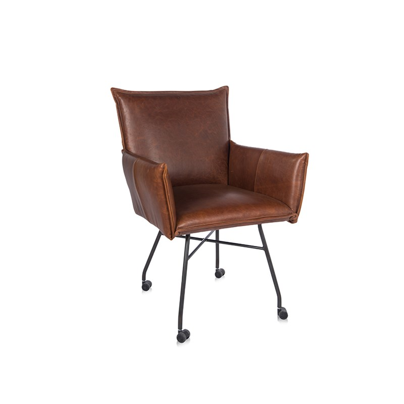 Sanne Diningchair With Arm With Wheel Luxor Tan Oblique