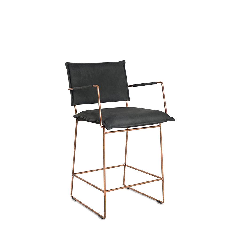 Norman Barstool Without Arm Copper Frame Aurula Black Oblique (2)